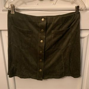 NWT Olive micro suede mini skirt button down large